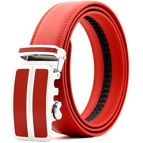 Neiman Automatic Adjustable Leather Belt // Red + Silver