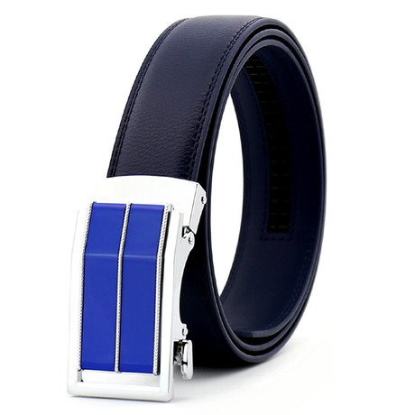 Static Automatic Adjustable Leather Belt // Refined Blue