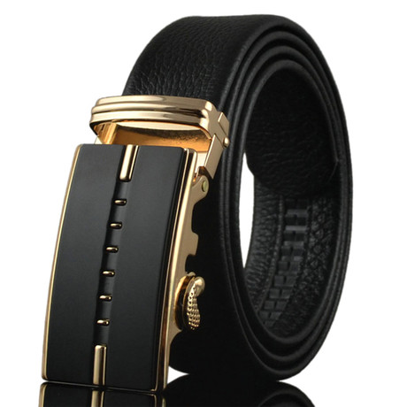 Overlap Adjustable Buckle Leather Belt // Black + Gold