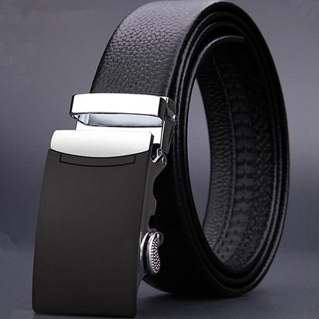 Classic Adjustable Buckle Leather Belt // Black + Silver