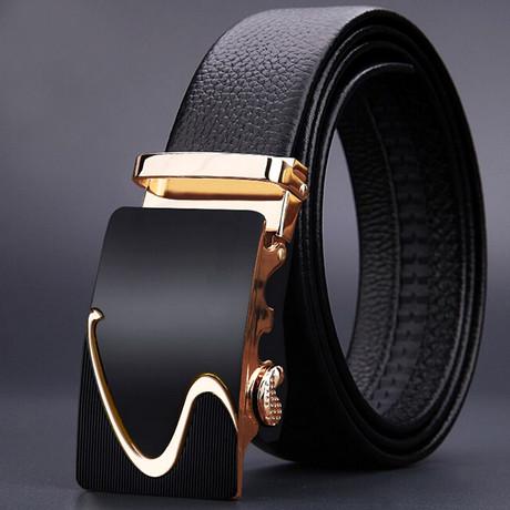 Weave Adjustable Buckle Leather Belt // Black + Gold