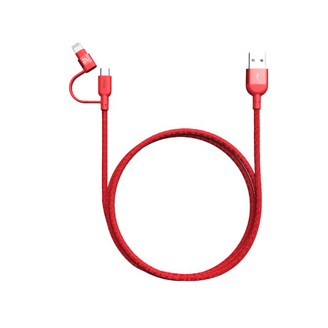 """PeAk II Duo // 47"""" Lightning + MicroUSB Cable (Red)"""