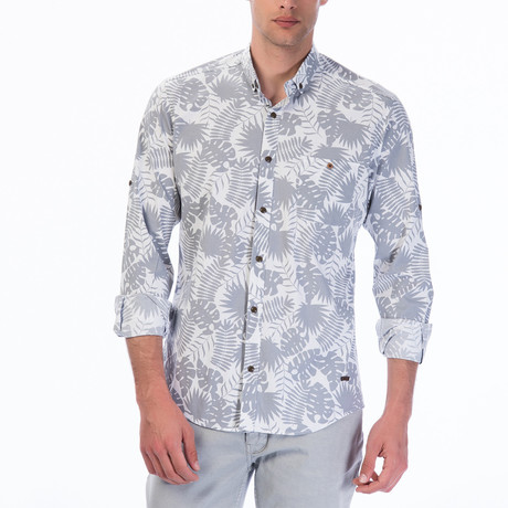 Tropical Pattern Button-Up Shirt // White
