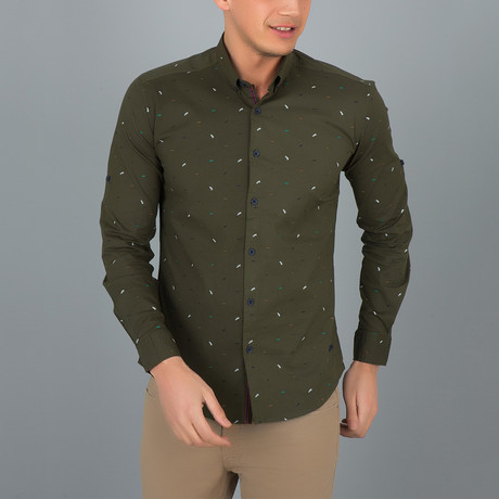 Confetti Pattern Button-Up Shirt // Khaki Green