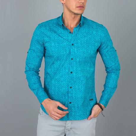 Mini Dotted Pattern Button-Up Shirt  // Turquoise