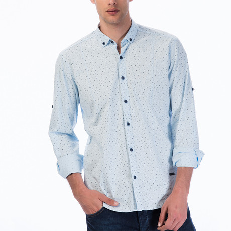 Dotted Line Pattern Button-Up Shirt // Blue