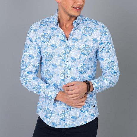 Paisley Pattern Button-Up Shirt // Sax