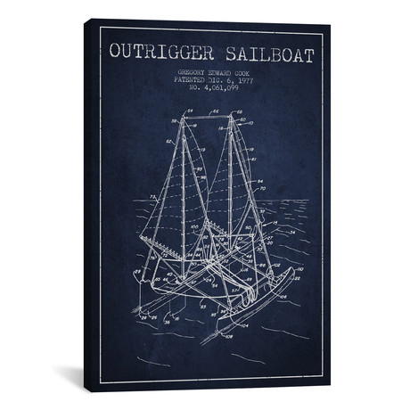 Outrigger Sailboat Navy Blue Patent Blueprint // Aged Pixel