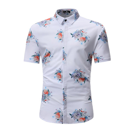 Short Sleeve Shirt // White + Colorful Floral (S)