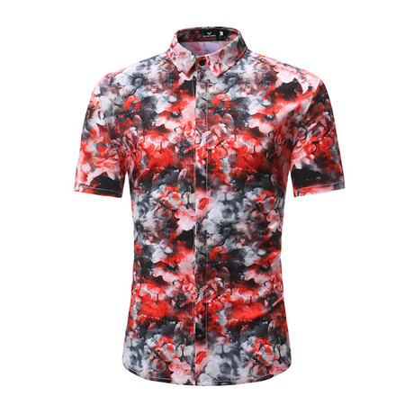 Short Sleeve Shirt // Red + Black +White Floral (S)