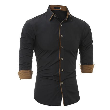 Short Sleeve Shirt // Black + Beige (2XL)