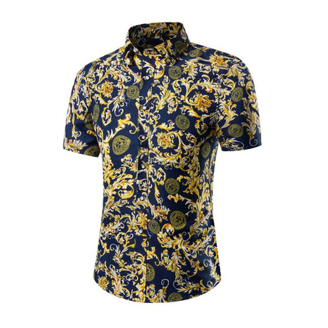 Short Sleeve Shirt // Navy Blue Paisley (M)