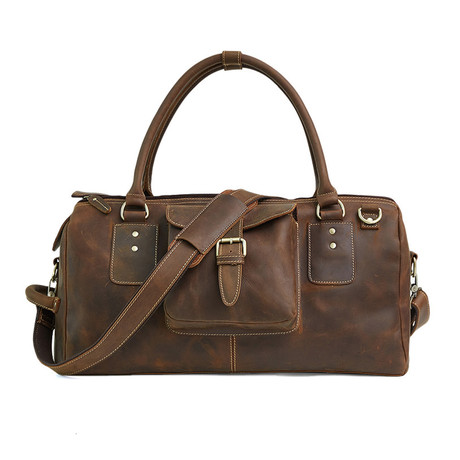 Leather Duffle Bag // Brown
