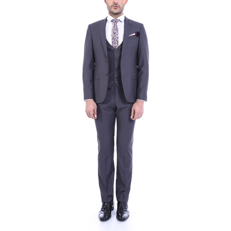Silas 3-Piece Slim Fit Suit // Smoked (Euro: 42)