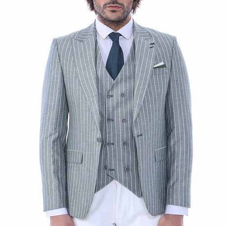 Kenley 3-Piece Slim Fit Suit // Green (Euro: 42)