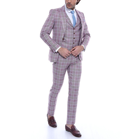 Elwood 3-Piece Slim Fit Suit // Burgundy (US: 50R)
