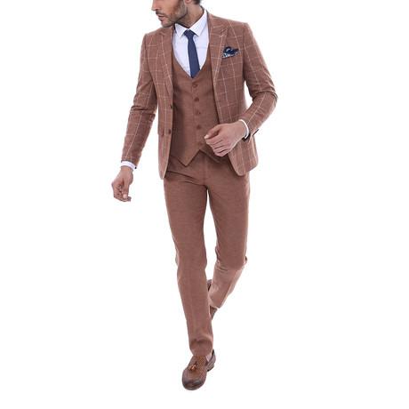Burke 3-Piece Slim Fit Suit // Brown