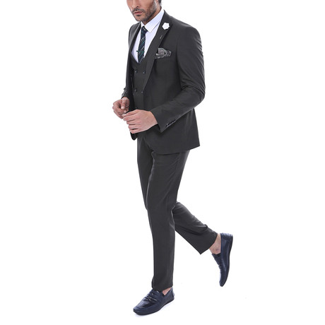 Nathaniel 3-Piece Slim Fit Suit // Brown (Euro: 44)