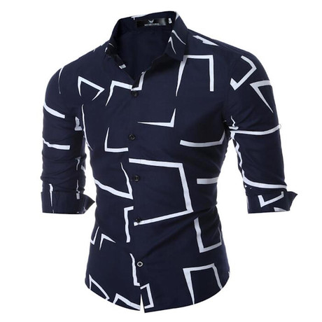 Short Sleeve Shirt // Navy Blue + Abstract Lines (S)