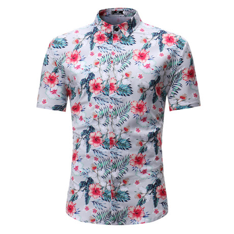 Short Sleeve Shirt // White Tropical Floral (S)