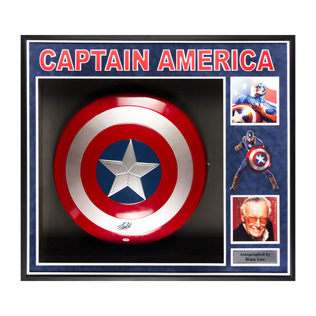 Signed + Framed Collage // Captain America Shield // Stan Lee