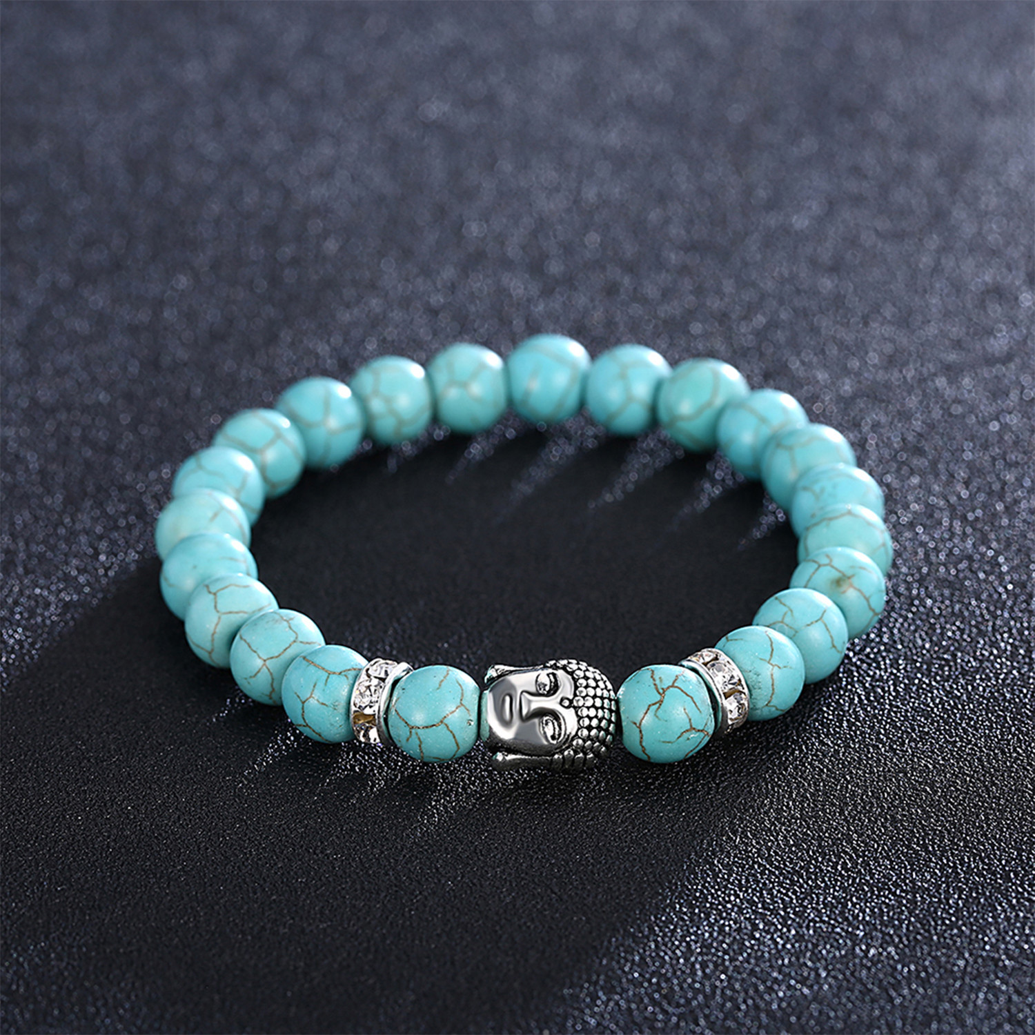Baby Blue Marble Silver Buddha Chakra Bracelet Rubique Touch Of Modern