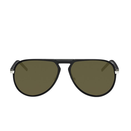 Dior // Men's AL13.2 Sunglasses // Matte Silver Khaki Havana + Green