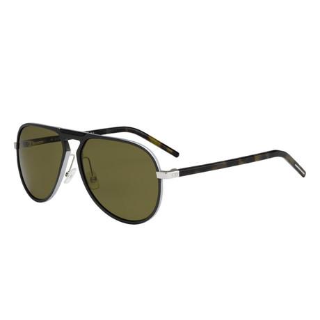 Men's AL13.2 Sunglasses // Matte Silver Khaki Havana + Green