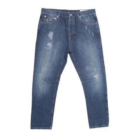 Desmoned Pinstripe Jeans // Blue (34WX32L)