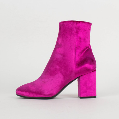 Women's Velvet + Block Heel Ankle Boots Shoes // Pink (US: 5)