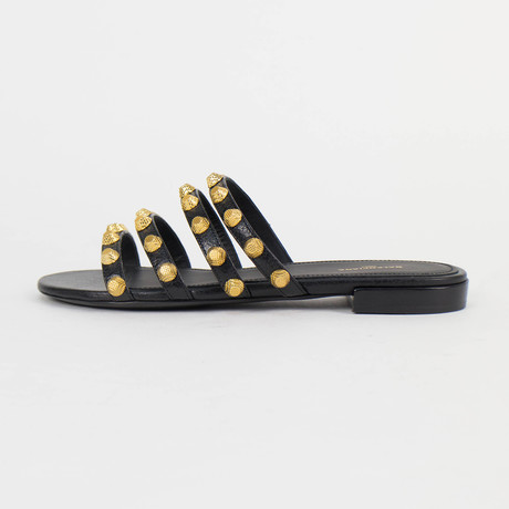 Women's Leather Studded Mules Sandals Shoes // Black (US: 5)