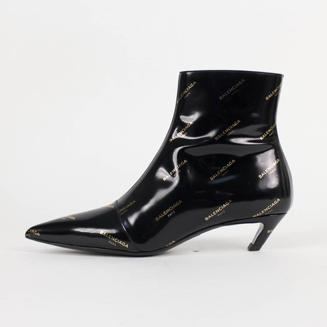 Women's Patent Leather Logo Kitten Heel Ankle Boots Shoes // Black (US: 5)