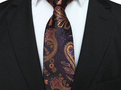 Photo of Blanc Vibrant Silk + Cashmere Ties Handmade Neck Tie // Gold + Purple Paisley by Touch Of Modern
