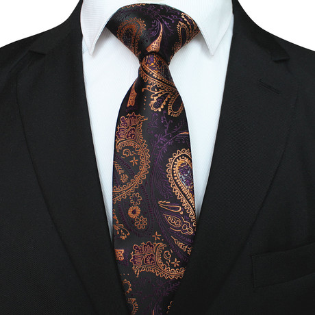 Bryson Silk Tie // Gold + Purple Paisley
