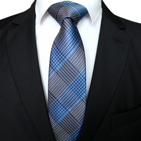 Leighton Tie // Gray + Blue Cross