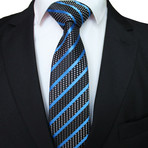 Kyan Tie // Blue + Black Stripe Polka