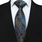 Hubert Silk Tie // Blue + Bronze Paisley
