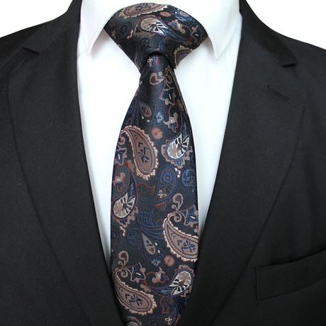 Handmade Neck Tie // Blue + Silver Paisley