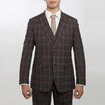 2BSV Notch Lapel Vested Suit  Brown Tartan Plaid (US: 42R)