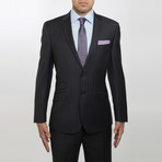 2BSV Notched lapel Suit Charcoal Purple Pinstripe (US: 36S)