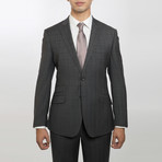 2BSV Peak Lapel Pick Stitch Suit Gray Brown Windowpane (US: 36S)