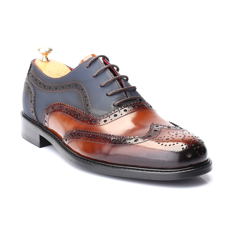Quina Dress Shoes // Tobacco + Dark Blue (Euro: 39)