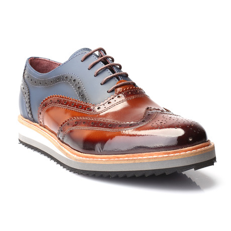 Achilles Oxford Dress Shoes // Tobacco + Dark Blue (Euro: 40)