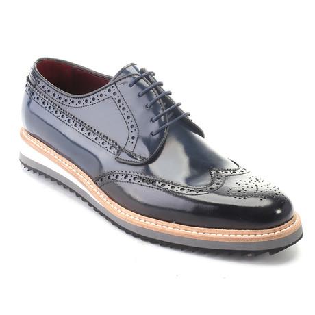 Perforated Wingtip Derby + Contrast Platform Sole Dress Shoes // Dark Blue (Euro: 39)