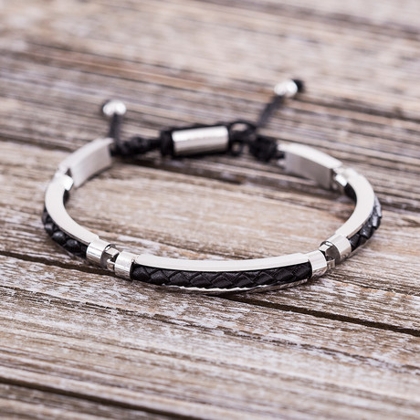 Braided Leather Insert Slider Bracelet // Black
