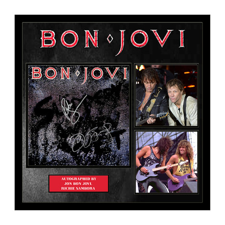 Framed autographed Collage // Slippery When Wet // Bon Jovi