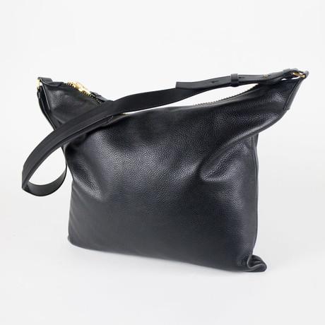 Tom Ford // Pebbled Leather Shoulder Bag + Adjustable Strap // Black