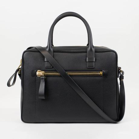 Tom Ford // Pebbled Leather Shoulder Briefcase Bag // Large // Black