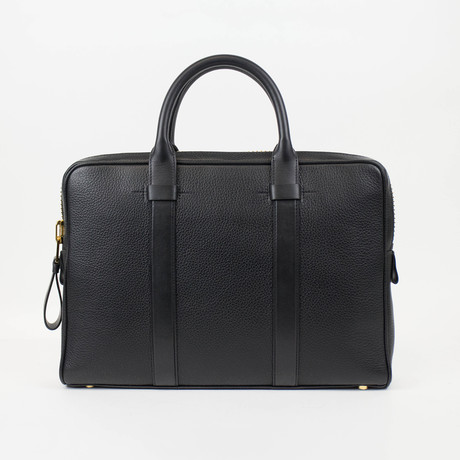 Tom Ford // Buckley Trapeze Pebbled Leather Briefcase Bag // Small // Black