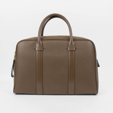 Buckley Trapeze Pebbled Leather Briefcase // Medium // Brown